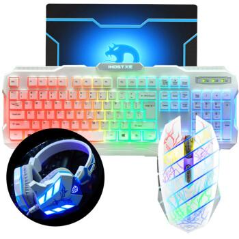 炫光 游戏usb键盘鼠标 发光鬼影牧马人风格背光鼠标 lol cf dota 有线键鼠套装 580彩虹背光+鬼影鼠标+618耳机 白