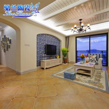 五彩精灵仿古砖 客厅 地砖地花线 转角 瓷砖 美式地中海风格 450图片