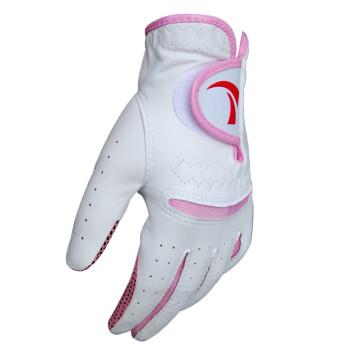 TTYGJ 高尔夫用品 高尔夫手套 双手 女士 羊皮手套 运动手套 白粉色 18码