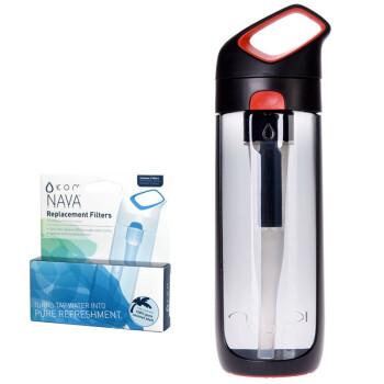 酷水(KOR)NAVA泫爱杯夏季运动吸管杯椰壳活性炭运动水壶送滤芯黑红色650ML HBK-NAV004
