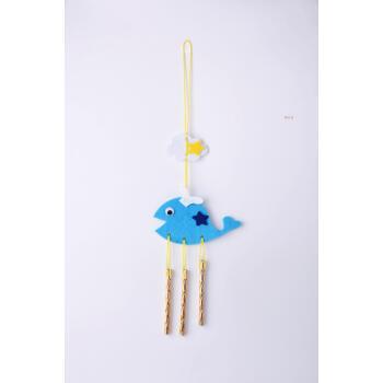 节日装饰幼儿园手工风铃挂饰儿童手工diy手工制作材料包 创意风铃海豚