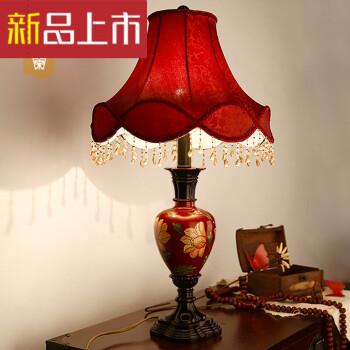 灯饰欧式复古手绘结婚台灯婚房床头灯卧室红色布艺可调光台灯定制