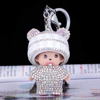优诚镶钻蒙奇奇公仔bv编织汽车钥匙扣挂件手工定制男女士可爱娃娃diy