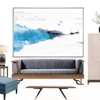 远山 新中式意境山水画客厅玄关餐厅挂画装饰画样板间用画淡蓝 远山图片