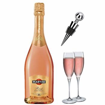 意大利洋酒 马天尼阿蒂斯甜起泡酒7.5度 送香槟杯2个酒塞1个 粉桃红葡萄酒 750ml