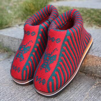 毛线拖鞋手工编织季居家保暖棉鞋防滑耐磨鞋底婚嫁勾线鞋生活 女款