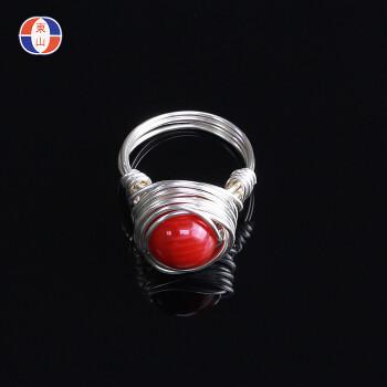 新年礼物海竹珊瑚手工戒指红色珊瑚镀银缠线宝石戒指日单tbj064表白 4