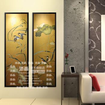 添画 新中式花鸟画纯手绘油画客厅走廊书房办公室装饰画别墅酒店挂画