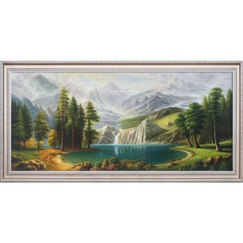 纯手绘欧式风景客厅油画沙发背景墙装饰画聚宝盆招财山水挂画sn9789 7