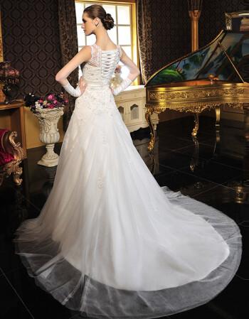 满庭芳2016新款 挂脖抹胸半透明包肩婚纱礼服新娘结婚