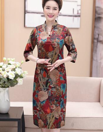 妈妈穿夏装真丝绸缎连衣裙中年改良印花旗袍宽松大码图片