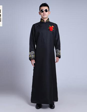 相声大褂_【秋尚新】中式结婚礼服伴郎伴娘服男士长衫长袍大褂民国古装相声兄弟