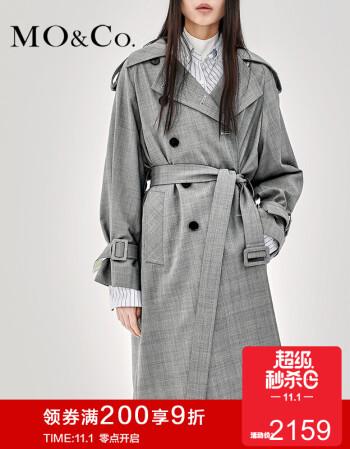 MOCO2018秋季新品复古格纹风衣中长外套MA183TRC101 摩安珂 黑白格色 L