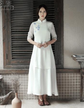贝蒂瑞莎中国风棉麻女装闲章长袖手绘连衣裙长裙茶服汉服 白色 m