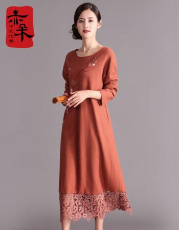 亦朵2017秋冬装手绘羊毛连衣裙长袖中长款古典圆领打底裙 棕红色 m