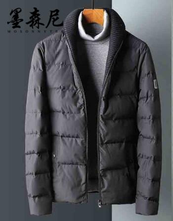 墨森尼 棉服2017新款毛衣领男青年修身加厚冬装立领外套 黑色 m图片