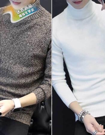 bxay冬季男士长袖t恤韩版高领毛衣针织秋衣保暖打底衫