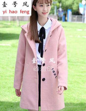 壹号凤女生高中学生冬装外套女甜美可爱少女软妹毛呢外套修身初中生