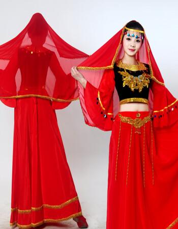 新款新疆维吾尔族舞蹈表演服装 女少数民族印度肚皮舞台演出服装jll