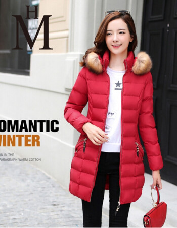 s森马波司登女装冬季新款羽绒服女 红色中长款女外套图片