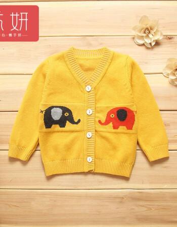 流妍婴儿秋装春卡通男宝宝针织毛衣开衫外套女新生儿上衣小外套0-1岁