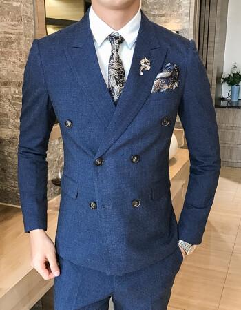 条纹双排扣西装套装男版三件套新郎发型师西服 深蓝色