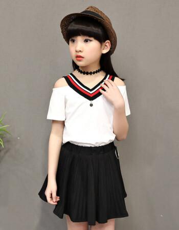 女童套装夏装2017新款夏季短袖小女孩百褶裙儿童两件套半身裙短裙图片