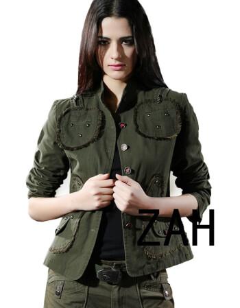 自由骑士户外服装 0760#高腰迷彩服修身夹克 军绿女装外套 军绿色 l