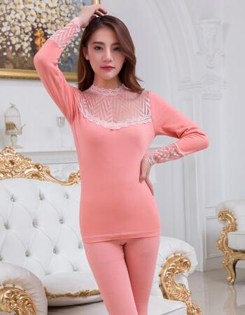 本命年大红色秋衣秋裤女套装美体薄款紧身打底结婚保暖内衣 1826粉色