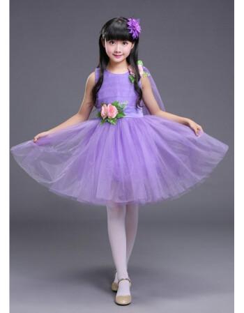 幼儿园小草表演服低碳贝贝舞蹈服装儿童环保主题舞蹈演出服新款 紫色