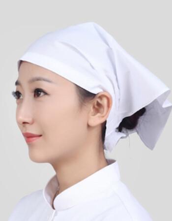 头巾帽日式厨房餐厅火锅店三角巾厨师帽子简洁 白色头巾【系带款】 可