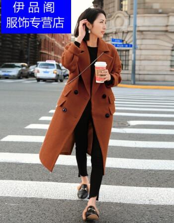 欧美seitu_itukkc 香港潮牌2017新款韩版长款毛呢外套女长过膝秋冬茧型马海毛