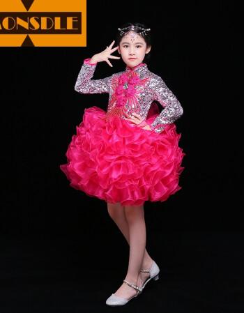 smonsdle儿童模特走秀表演服主持人礼服女童演出服公主裙蓬蓬裙长拖尾