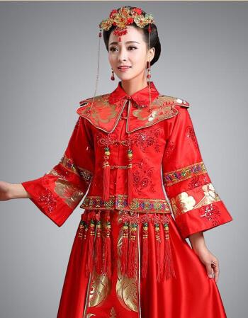 新款新郎新娘红色中式婚服古代古装婚礼服秀禾敬酒服古代婚纱男女套装