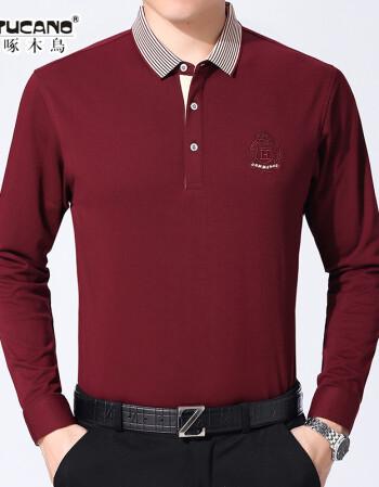 啄木鸟中老年春秋装男翻领套头男士长袖t恤大码中年上衣爸爸装潮 红色