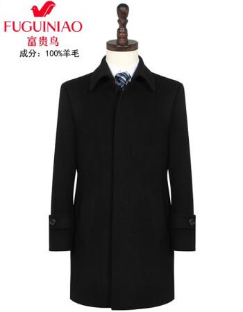 富贵鸟双面羊绒大衣男双面羊绒大衣男女中长款职业制服毛呢外套修身纯