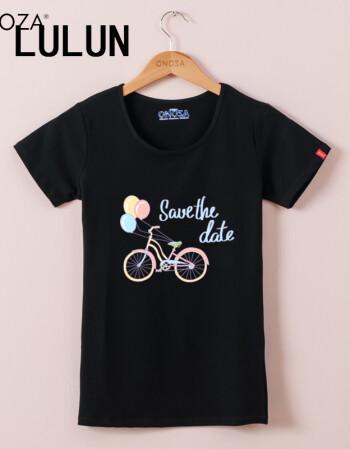 2017夏款修身圆领t恤女 个性气球自行车卡通学生棉短袖1020 黑色 m 请