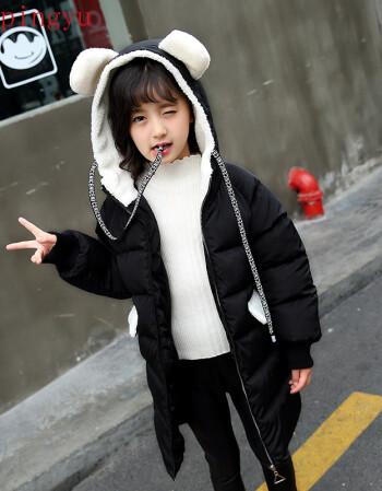 pingyu童装女童泰迪绒外套2018秋冬中大童中长款小学生时尚舒适 黑色