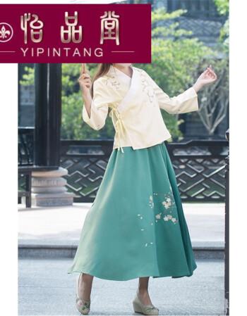 套装女刺绣花手绘交领改良汉服民族风古装服装民国学生装 绿色 仅半裙