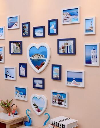 格领特心形照片墙客厅婚纱照相框墙卧室相片墙挂墙相框创意组合婚庆用图片