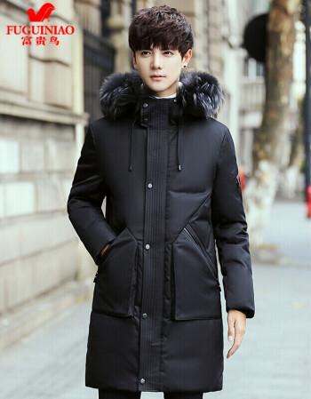 富贵鸟官方旗舰店森马同款男装韩版冬季羽绒服男士中长款加厚修身外套图片