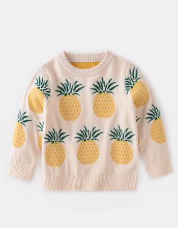 阿坡饵女童可爱水果毛衣2018秋新款童装宝宝长袖针织衫外套儿童套头线