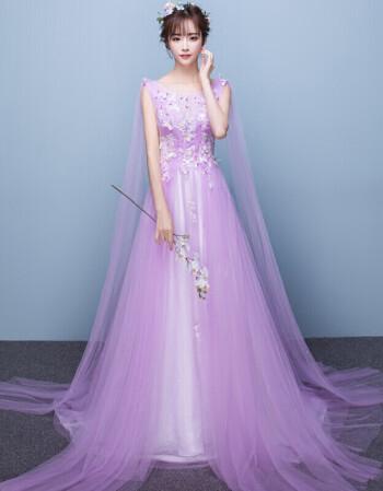 惠维 新款伴娘服长款2017新款紫色订婚礼服女宴会晚礼服优雅主持人