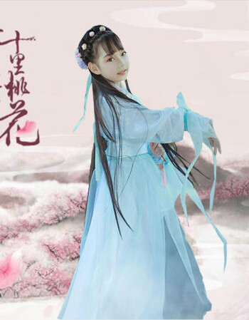 三生三世十里桃花白浅cos同款儿童古装演出服女仙女服装汉服fjm 青色