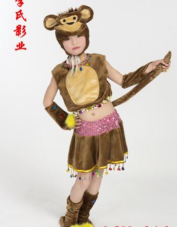 六一儿童动物演出服小猴子驯鹿袋鼠梅花鹿演出服鹿短袖舞台表演服