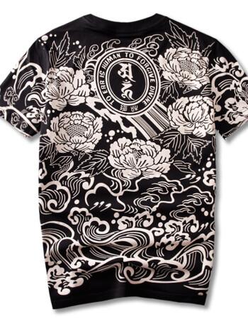 夏季中国民族风神兽招财貔貅印花莲花纹身t恤大码胖子