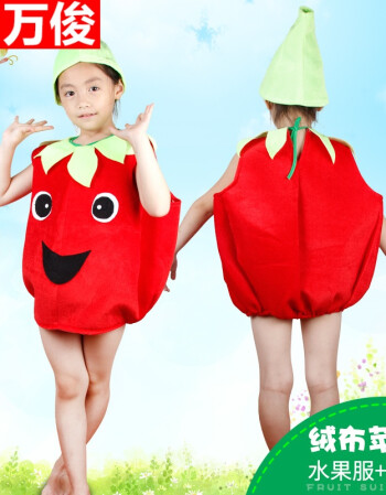 新年儿童幼儿园手工制作环保服装儿童蔬菜水果造型男演出服 绒布苹果