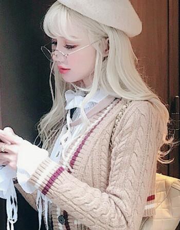 阿坡饵 欧美时尚空气刘海假发女 浅金色蓬松大波浪长卷发 洛丽塔公主图片