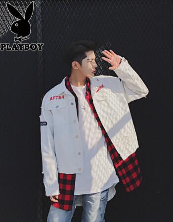 新品2017春款个性后背印花潮流破洞水洗牛仔衣韩版夜店发型师夹克外套图片