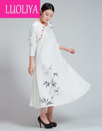 luoliya大码女装连衣裙棉麻提花裙子手绘民族风长裙2017新款秋冬装 白